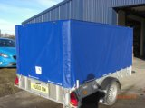 防水反紫外線610GSM 0.5mm青い印刷されたPVCは薄板にされたビニールの防水シートのトレーラーカバーに塗った