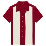 Custom хлопка Vintage мужчин в боулинг футболки рокабилли оливкового цвета одежду
