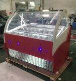 商業イタリアのGelatoのアイスクリームのフリーザーの表示かアイスキャンデーのフリーザー