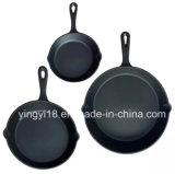 Conjunto 3 piezas mayorista Preseasoned sartén de hierro fundido