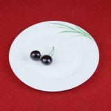 Piatto di ceramica rotondo dipinto a mano della Tabella dell'erba/piatto del padellame