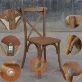 標準的なシリーズ中型の自然な木製の十字の背部スタック椅子