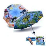 자동적인 Open&Close 3 접히는 우산을 인쇄하는 주문 로고