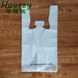 Le PEHD Plain White T-shirt en plastique des sacs de magasinage pour supermarché