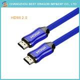 Mann 19p zu männliches überzogenem 4K 3D HDMI Kabel HDTV-Schraube 10m-Gold