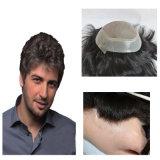Волос Remy высокого качества Toupee шнурка людских курчавый полный