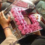 Décoration de mariage en acrylique transparent fleur Conteneur d'affichage avec couvercle