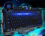 Tri-Color Glare Backlit Gaming USB Teclado Multimedia de la computadora