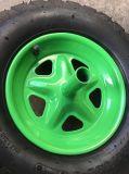 Roda pneumática de borracha 4.00-8 da borda verde do metal