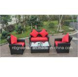 Sofa en osier de rotin de meubles réglé pour le jardin avec le bâti en aluminium