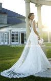 Spitze-Tulle-Brautkleider V-Stutzen Aktien-einfaches Hochzeits-Kleid W175282