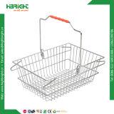 Cesta de compras de malha metálica com alças duplas (HBE-B-19)