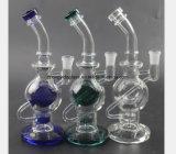 ثلاثة - لون زجاجيّة [وتر بيب] مروحة تبغ يعيد دخان أنابيب