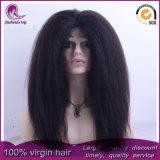 Kinky droites/Yaki vierge malaisien perruque de cheveux dentelle avant