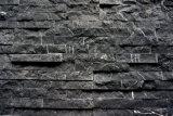 까만 대리석 슬레이트 벽을%s 문화에 의하여 겹쳐 쌓이는 돌 짜임새 선반 돌