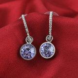 Elegante Cristal amatista púrpura Diamante CZ Joyas colgante gota pendientes