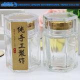 Vaso di vetro quadrato del miele con il vaso di vetro del coperchio del metallo giallo per alimento, miele, memoria