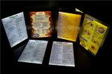 Menu Menu rétroéclairé par LED de cuir Le menu du restaurant