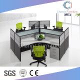 Mobiliário moderno e cores opcionais do compartimento do Escritório de melamina para três pessoas (CAS-W610)