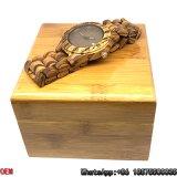 최상 얼룩말 나무로 되는 시계 날짜 석영 시계