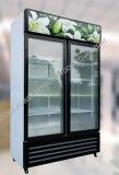 真っ直ぐに冷たい飲み物の表示2つのガラスのドア冷却装置
