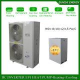 Trabalhar no quarto frio 12kw/19kw/35kw do medidor do aquecimento 120sq do radiador do inverno de -25c Auto-Degela a bomba de calor de Evi com amortecedor do tanque de água