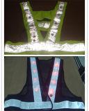 Veste elevada da segurança do trabalho do tráfego da visibilidade com luzes do diodo emissor de luz