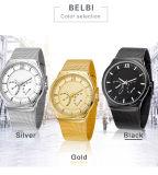 La promoción de lujo de Belbi del reloj del cuarzo de los hombres de la manera del acero inoxidable del deporte tricolor para elige