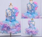 Hübsche Himmel-Blau-Ballkleid-Blumen-Mädchen-Kleider