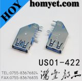 3.0 Side (US01-422)에 DIP Mounting를 가진 USB Female Connector