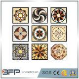 大理石の床タイルの円形浮彫りかパターンまたはモザイクまたは石Injayのウォータージェットで切り分ける
