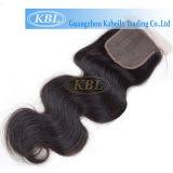 O cabelo humano natural de 100% empacota a fábrica frontal do fechamento do laço