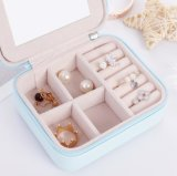 小さく、便利な耐摩耗性PU革純粋なカラー走行の宝石箱、創造的な宝石類の収納箱