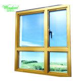 El doble de las hojas de madera aluminio ventanas de cristal
