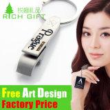 Изготовленный на заказ кожаный Keychain с кольцом никеля для выдвиженческого подарка