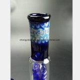Pipe de fumage en verre bleue pour la pipe spiralée en verre de reprise de filtre