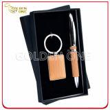 Insieme chiave di legno del supporto del regalo esecutivo & del regalo della penna di sfera