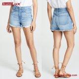Женских летом популярные моды синего цвета деним Whiskering шорты джинсы производителя Jeans-Lux Jl-Sh077