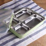 4 trous de la plaque en acier inoxydable pour l'école /Restaurant La plaque de déjeuner