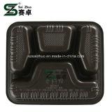 800ml engrossar 4 Bandeja de almoço de plástico descartáveis do habitáculo
