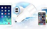 iPhone iPad를 위한 Dapter 건전지 차 충전기를 비용을 부과하는 백색 검정 LED 가벼운 이중 USB 전화