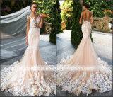 Vestidos de casamento superiores completos H147235 de Tulle do laço do vestido de casamento de Champagne