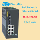 Interruptor industrial controlado do Ethernet do ponto de entrada com 8 portas IEEE 802.3at
