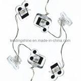 LED白い音楽記号の形の電池式の装飾的な照明ストリングライト