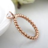 Anello di diamante tessuto monili dell'oro della Rosa delle coppie degli accessori di modo