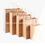 Bolso personalizado del regalo de los bolsos del partido del papel de Kraft con el bolso reciclable del botín del cumpleaños de las manetas