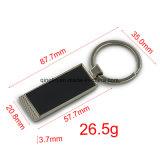 Porte-clés noir fait sur commande de vente chaud en métal de forme de rectangle