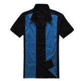 Botón por mayor Ropa de Hombre azul de la vendimia con la espalda recta Camisa de los bolos
