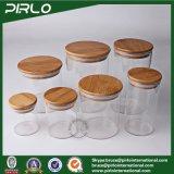 choc sec de mémoire de nourriture de Borosilicate de 600ml 20oz en verre de sucrerie élevée de biscuit avec le couvercle en bambou