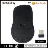 Ratón sin hilos derecho del negro de goma de la capa del ratón óptico del USB